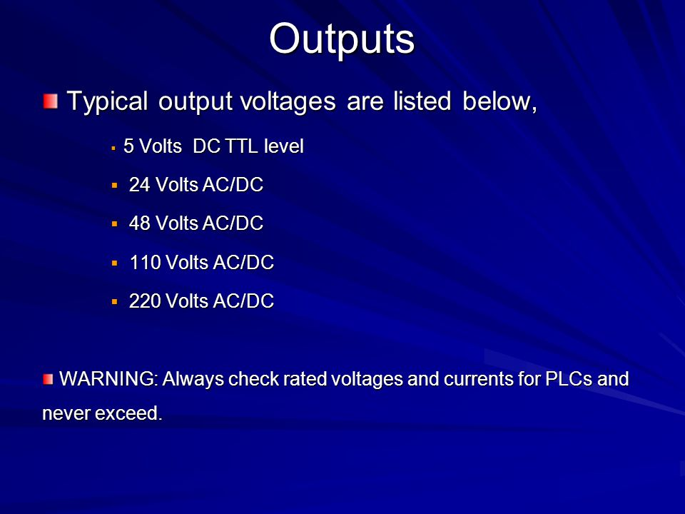 Outputs Typical output voltages are listed below, 24 Volts AC/DC