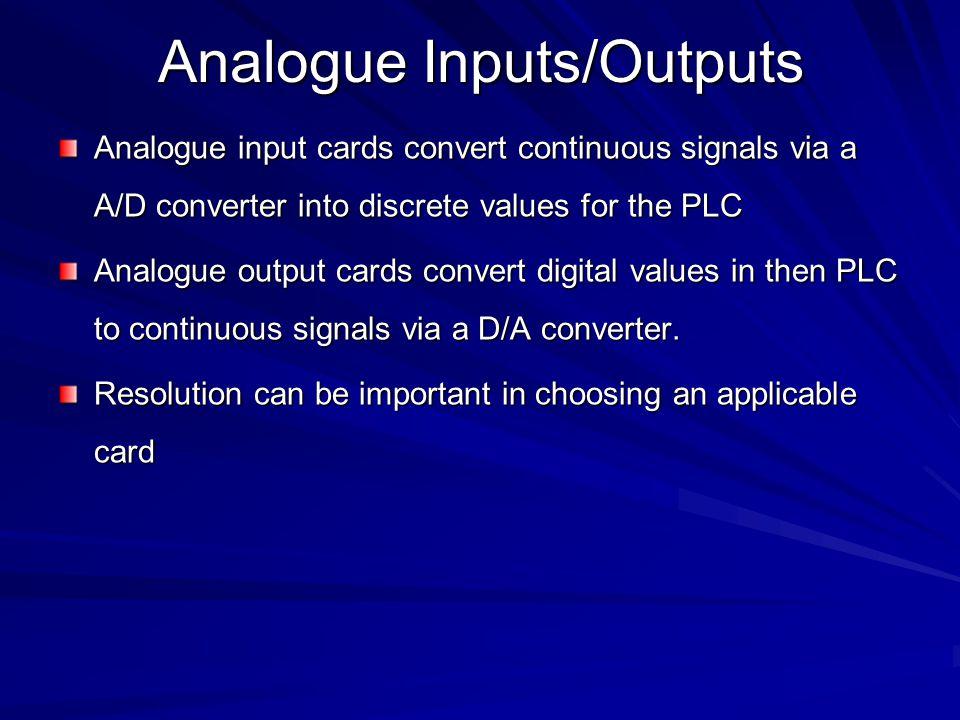 Analogue Inputs/Outputs