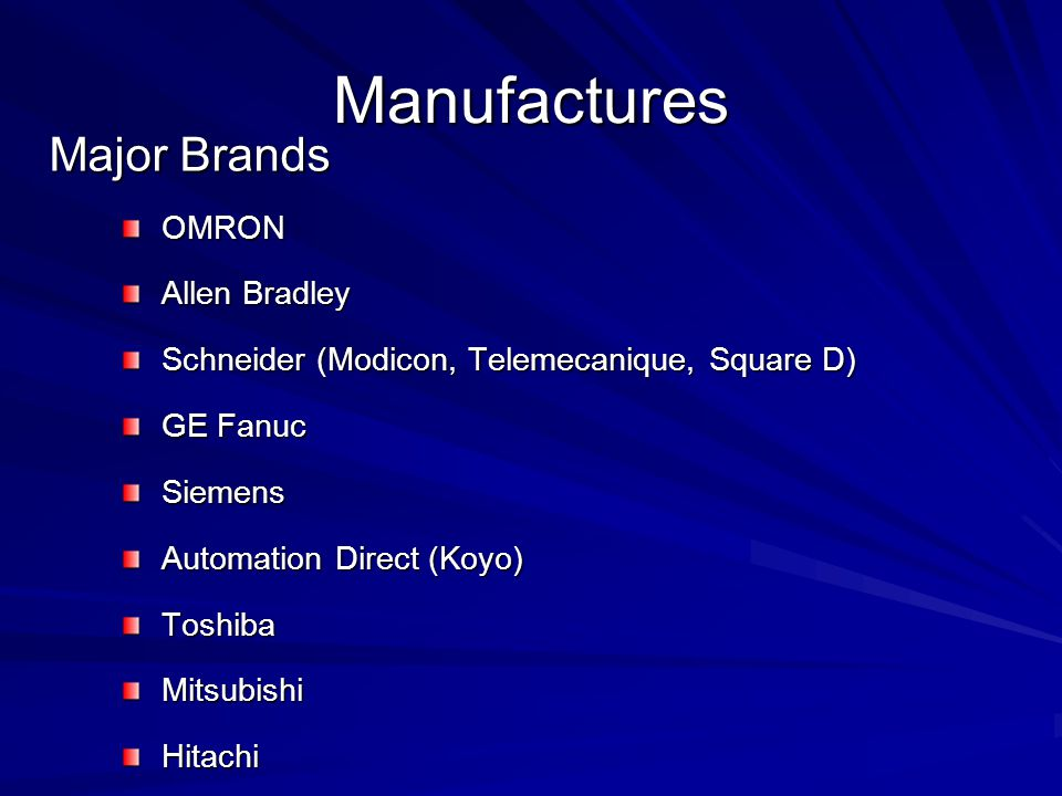Manufactures Major Brands OMRON Allen Bradley