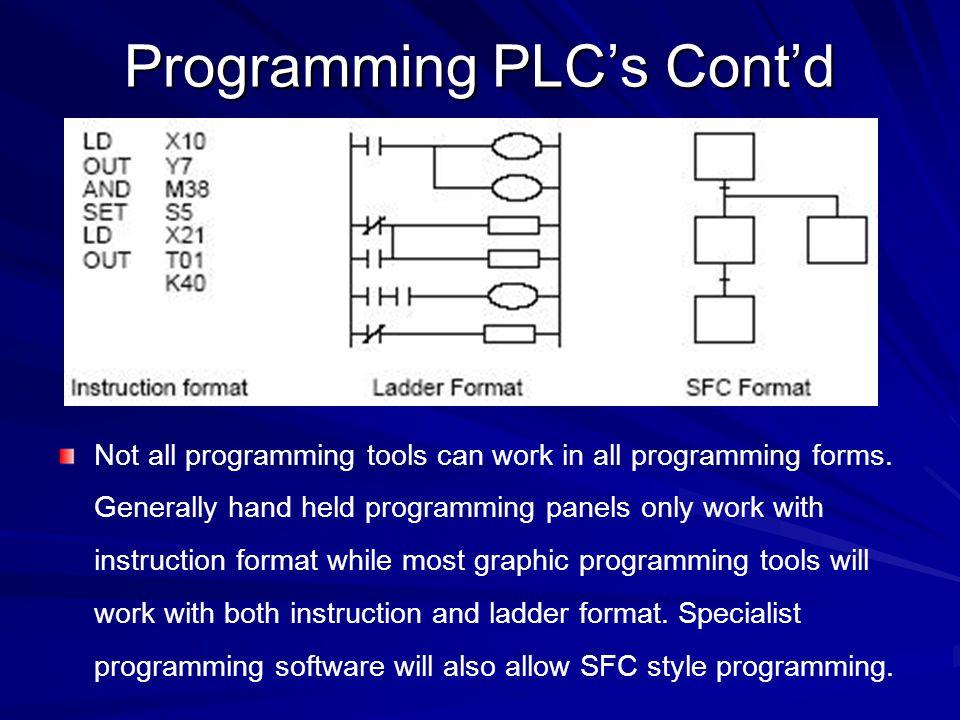 Programming PLC's Cont'd