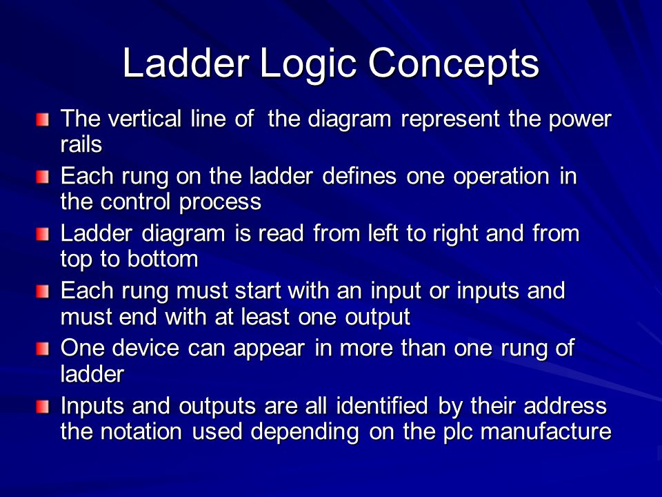 Ladder Logic Concepts The vertical line of the diagram represent the power rails.