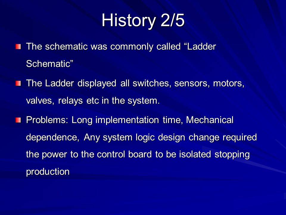 History 2/5 The schematic was commonly called Ladder Schematic
