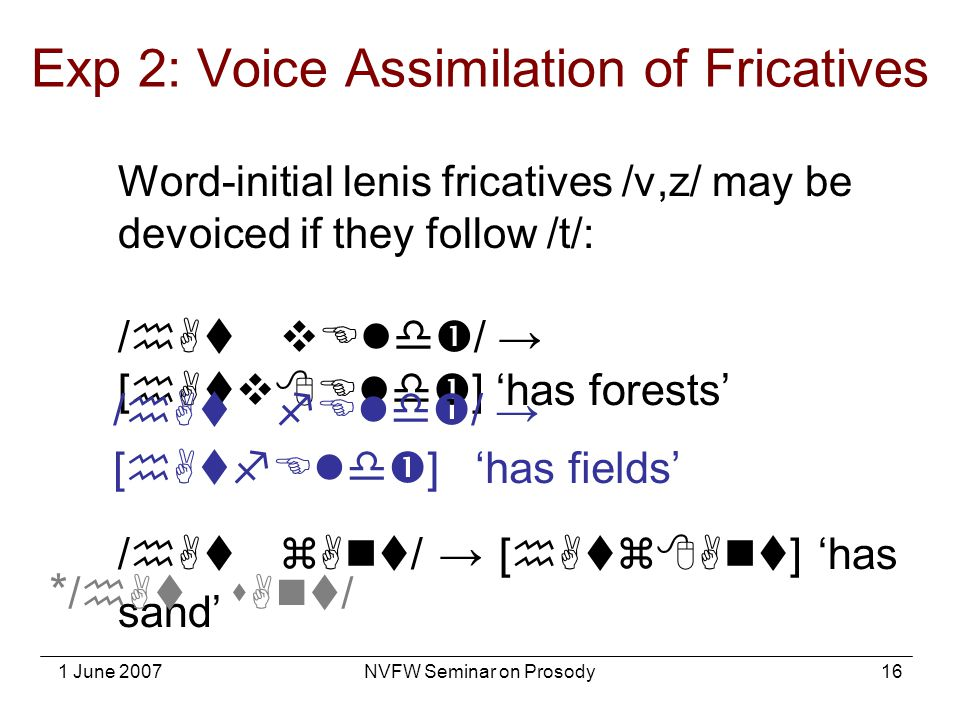 Exp 2: Voice Assimilation of Fricatives
