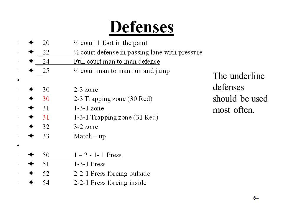 The underline defenses should be used most often.