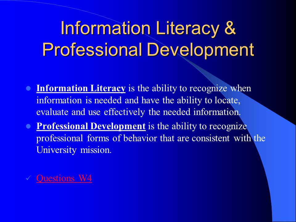 Information Literacy & Professional Development