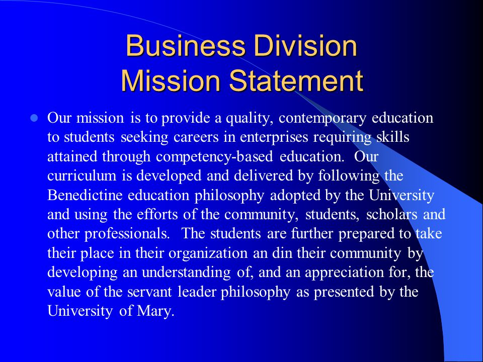 Business Division Mission Statement