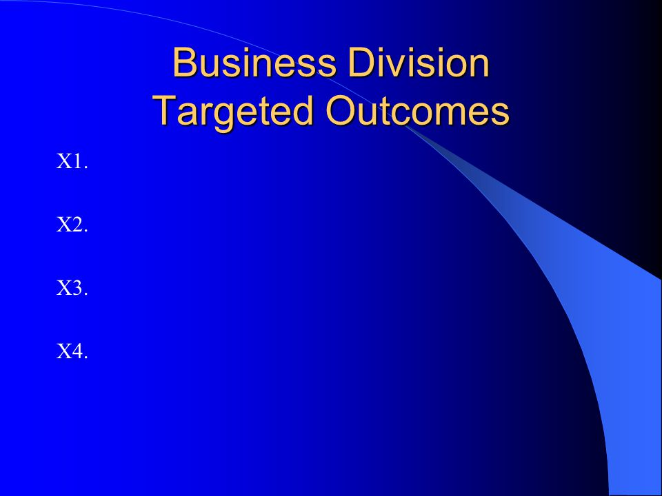 Business Division Targeted Outcomes