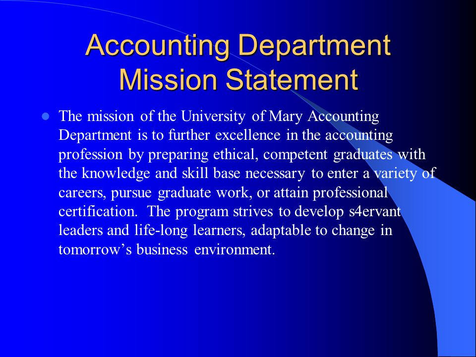 Accounting Department Mission Statement