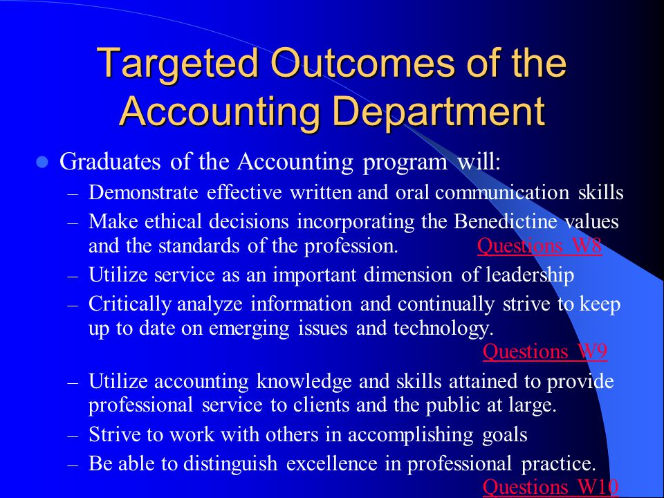 Targeted Outcomes of the Accounting Department