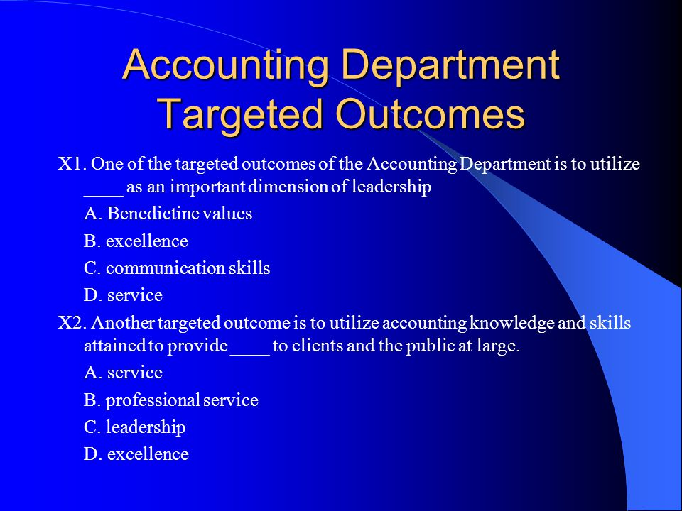 Accounting Department Targeted Outcomes