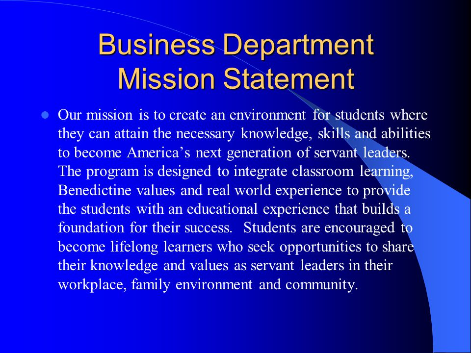 Business Department Mission Statement
