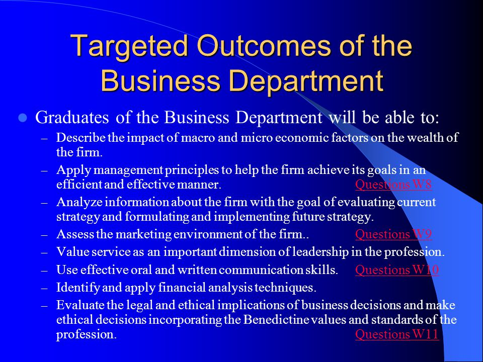 Targeted Outcomes of the Business Department
