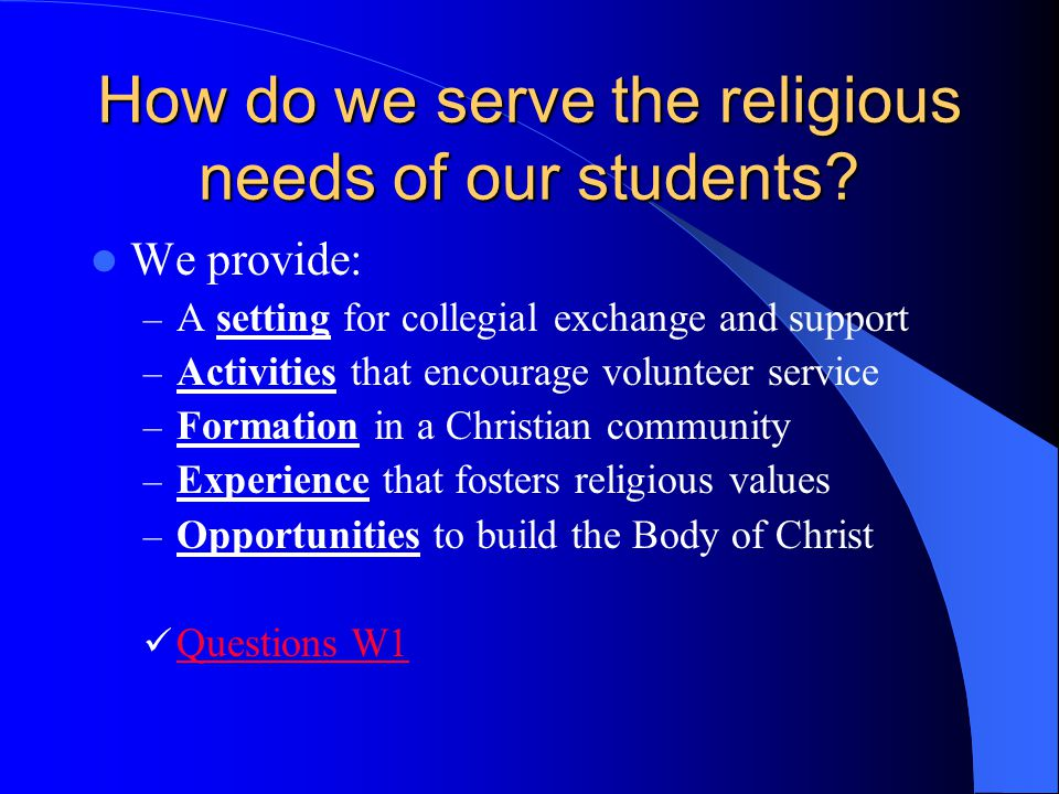 How do we serve the religious needs of our students