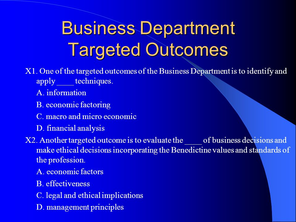 Business Department Targeted Outcomes