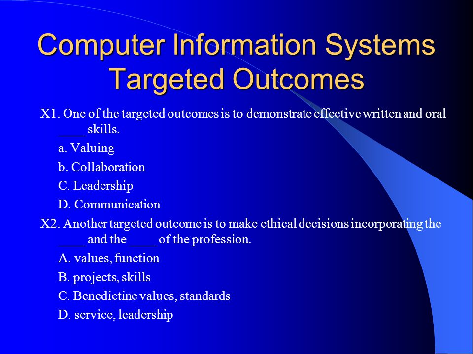 Computer Information Systems Targeted Outcomes