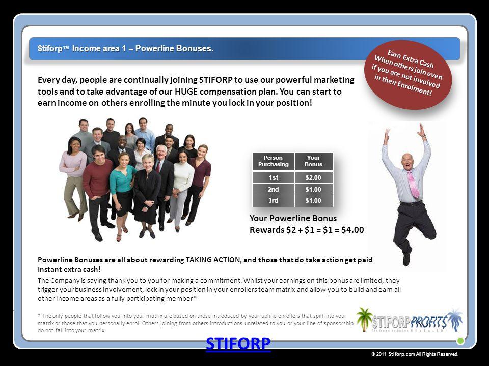 $tiforp™ Income area 1 – Powerline Bonuses.