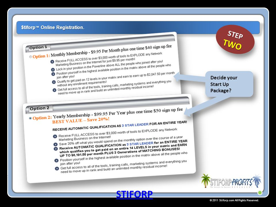 STIFORP STEP TWO Decide your Start Up Package