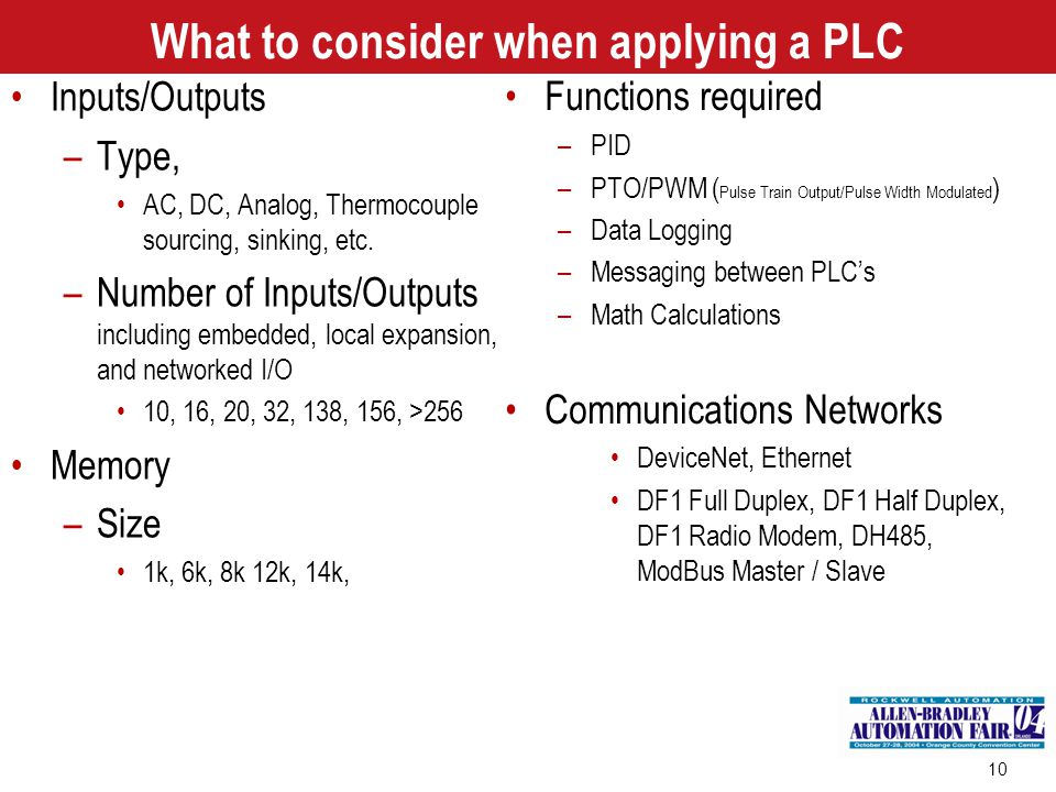 What to consider when applying a PLC