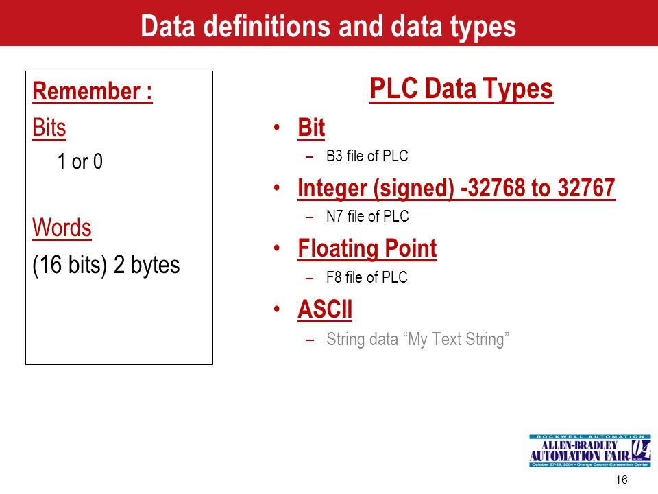 Data definitions and data types