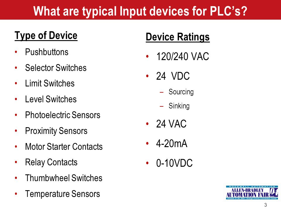What are typical Input devices for PLC's