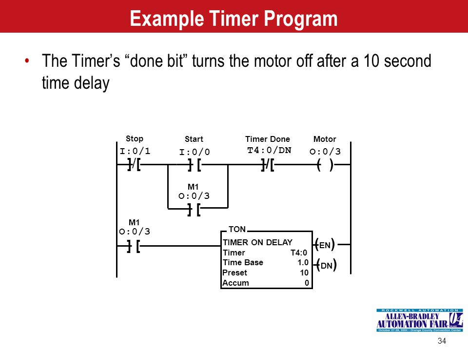 Example Timer Program The Timer's done bit turns the motor off after a 10 second time delay. TIMER ON DELAY.