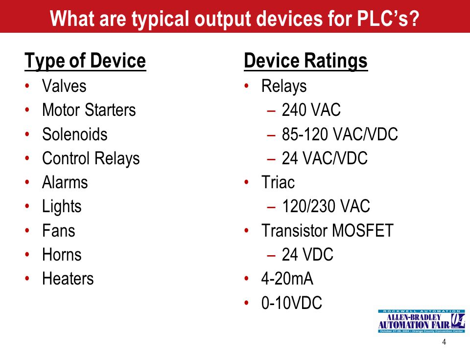 What are typical output devices for PLC's