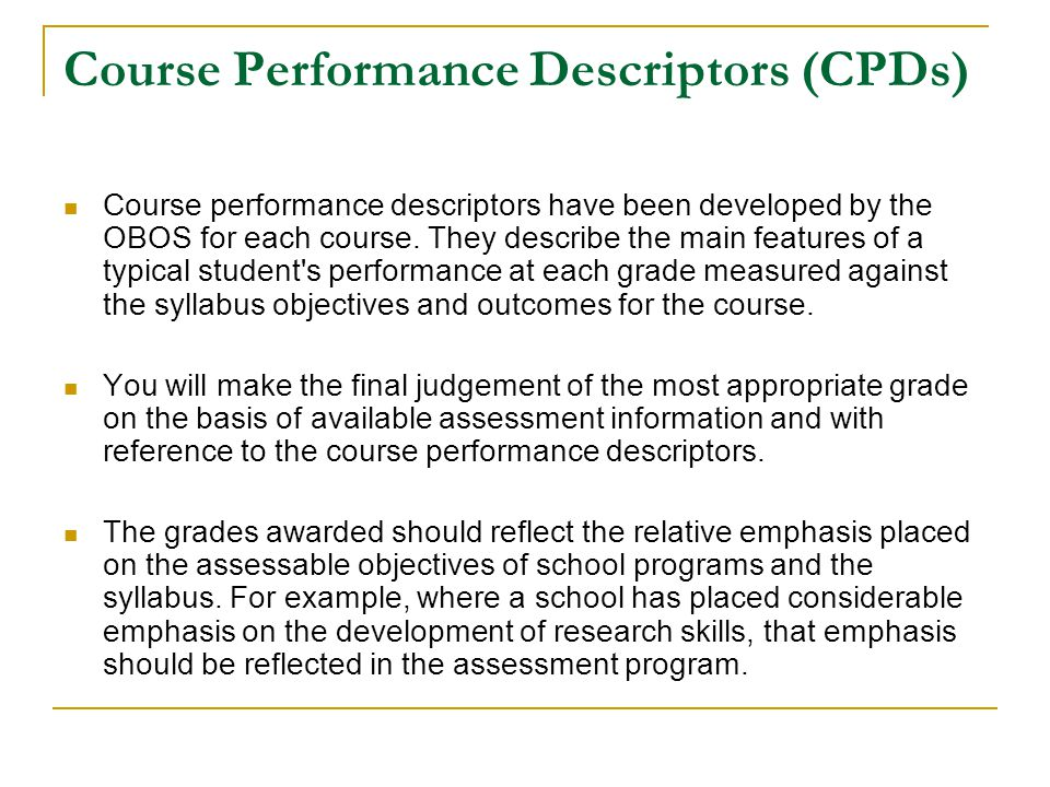 Course Performance Descriptors (CPDs)