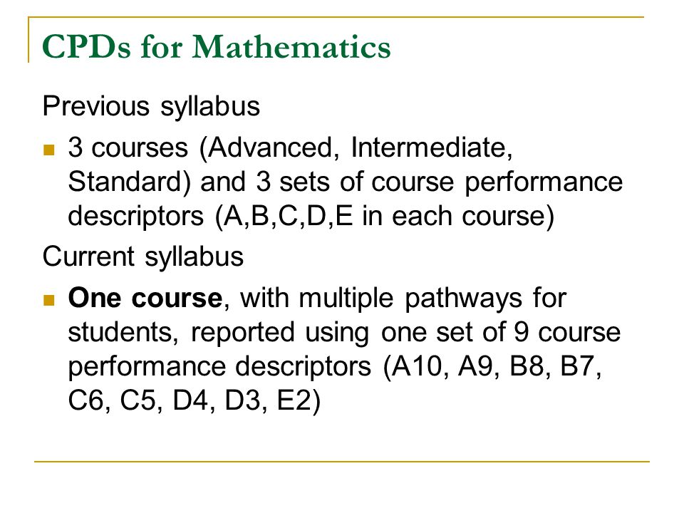 CPDs for Mathematics Previous syllabus