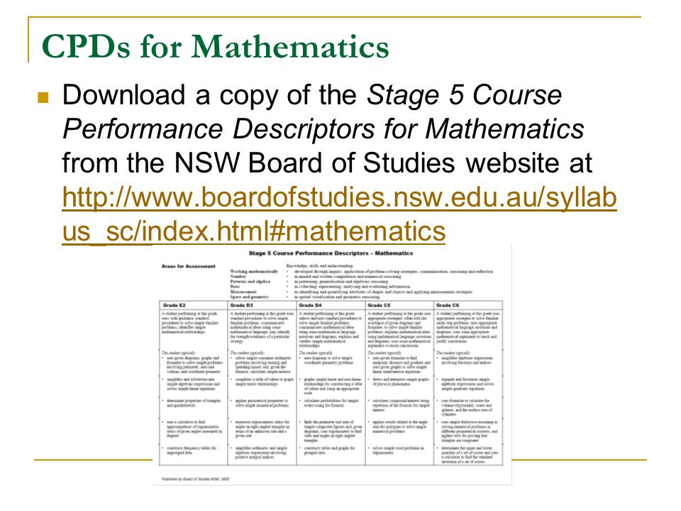 CPDs for Mathematics