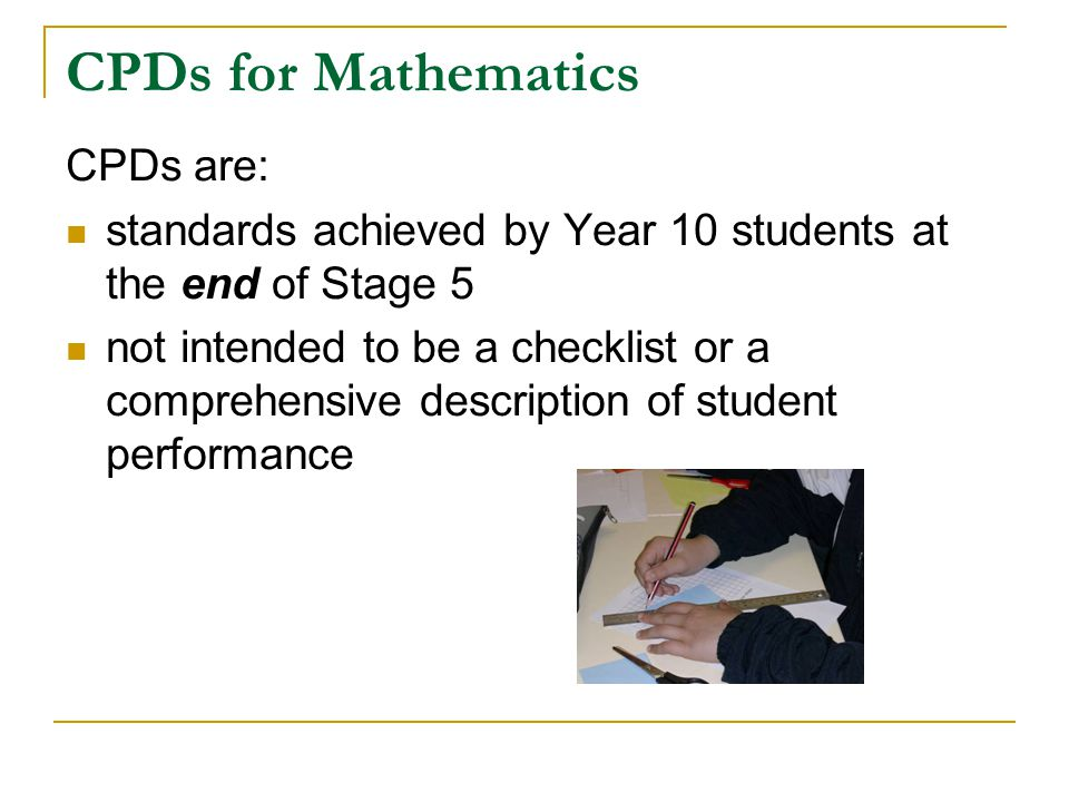 CPDs for Mathematics CPDs are: