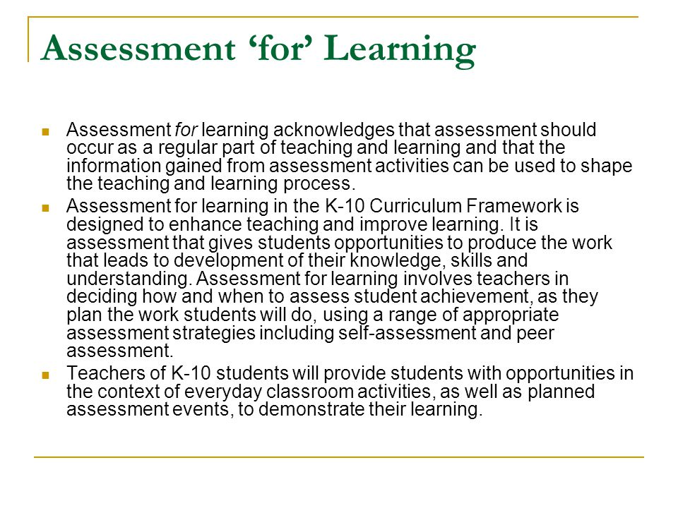 Assessment 'for' Learning