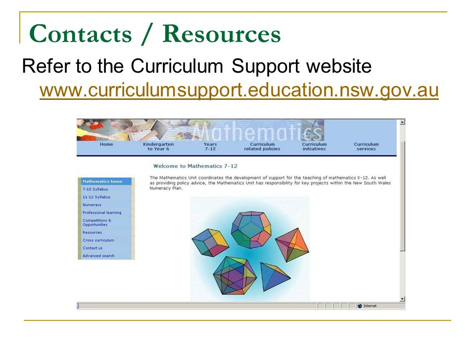 Contacts / Resources Refer to the Curriculum Support website www.curriculumsupport.education.nsw.gov.au.
