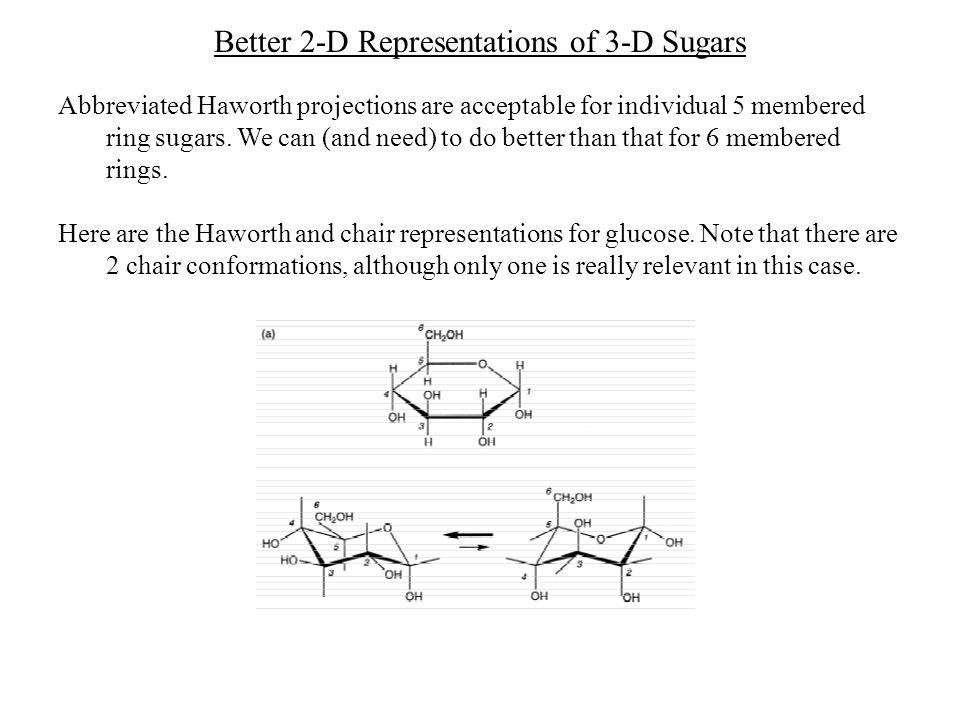 Better 2-D Representations of 3-D Sugars