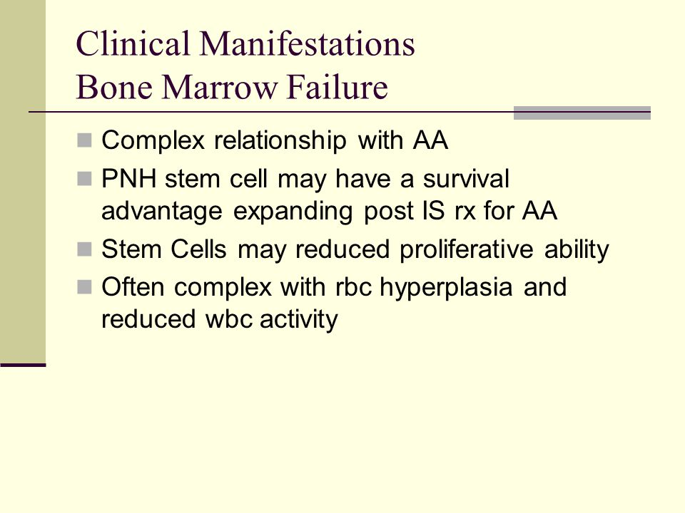 Clinical Manifestations Bone Marrow Failure