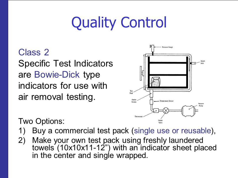 Quality Control Class 2 Specific Test Indicators are Bowie-Dick type