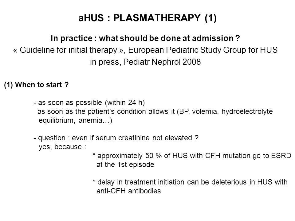 aHUS : PLASMATHERAPY (1)