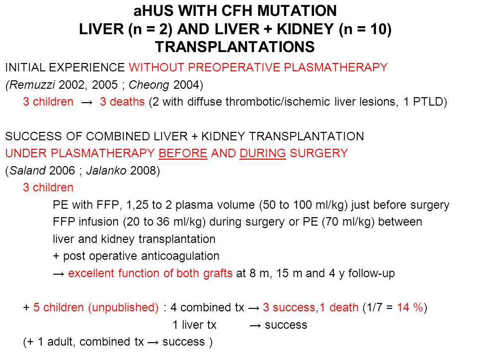 aHUS WITH CFH MUTATION LIVER (n = 2) AND LIVER + KIDNEY (n = 10) TRANSPLANTATIONS
