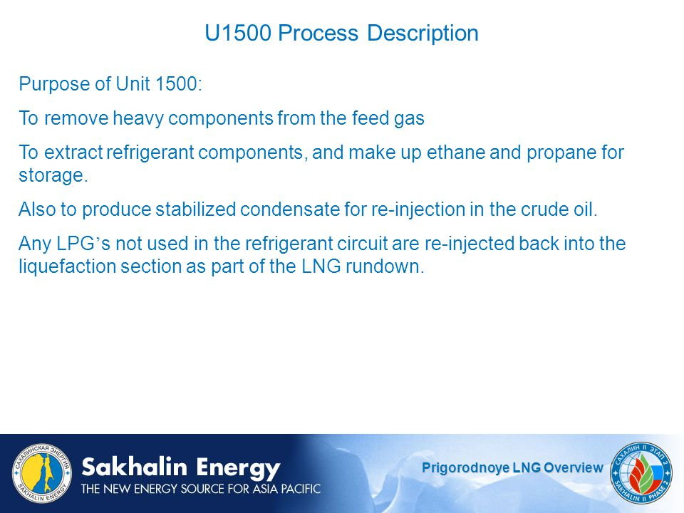 U1500 Process Description Purpose of Unit 1500: