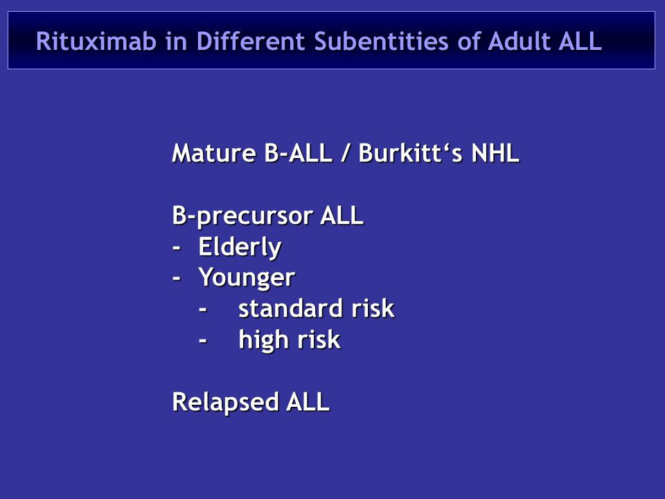 Rituximab in Different Subentities of Adult ALL