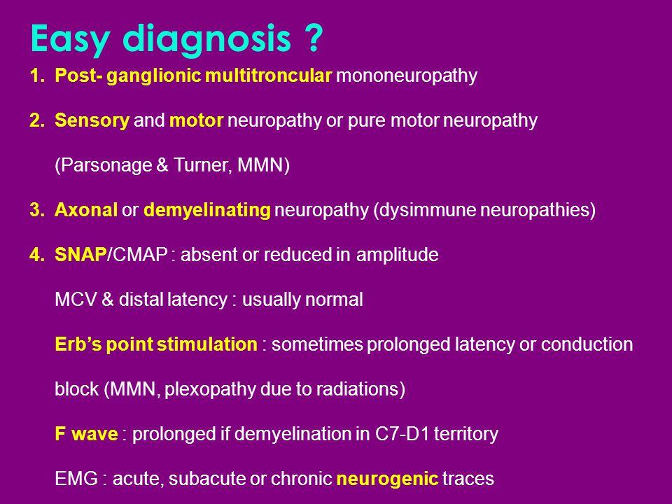 Easy diagnosis Post- ganglionic multitroncular mononeuropathy