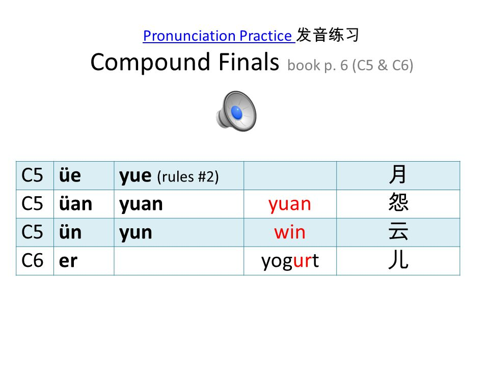 Pronunciation Practice 发音练习 Compound Finals book p. 6 (C5 & C6)