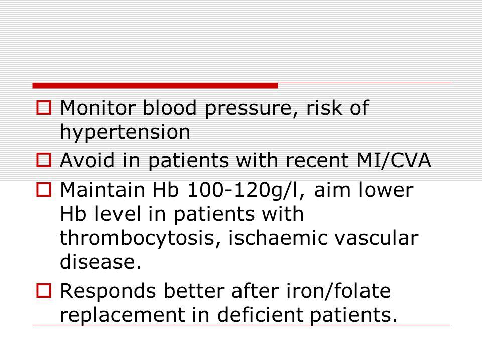 Monitor blood pressure, risk of hypertension