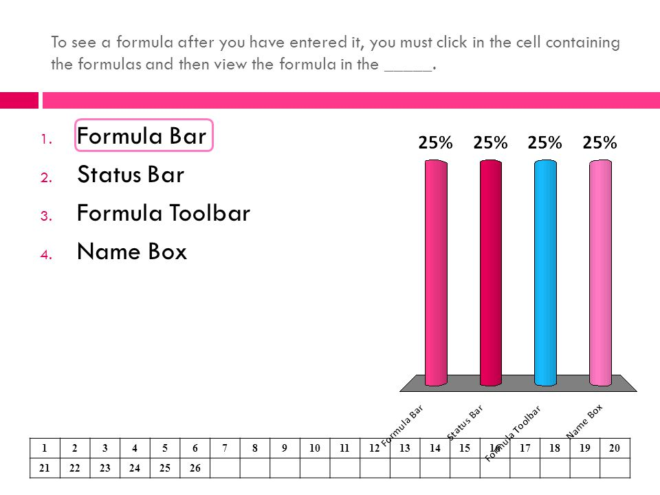 Formula Bar Status Bar Formula Toolbar Name Box