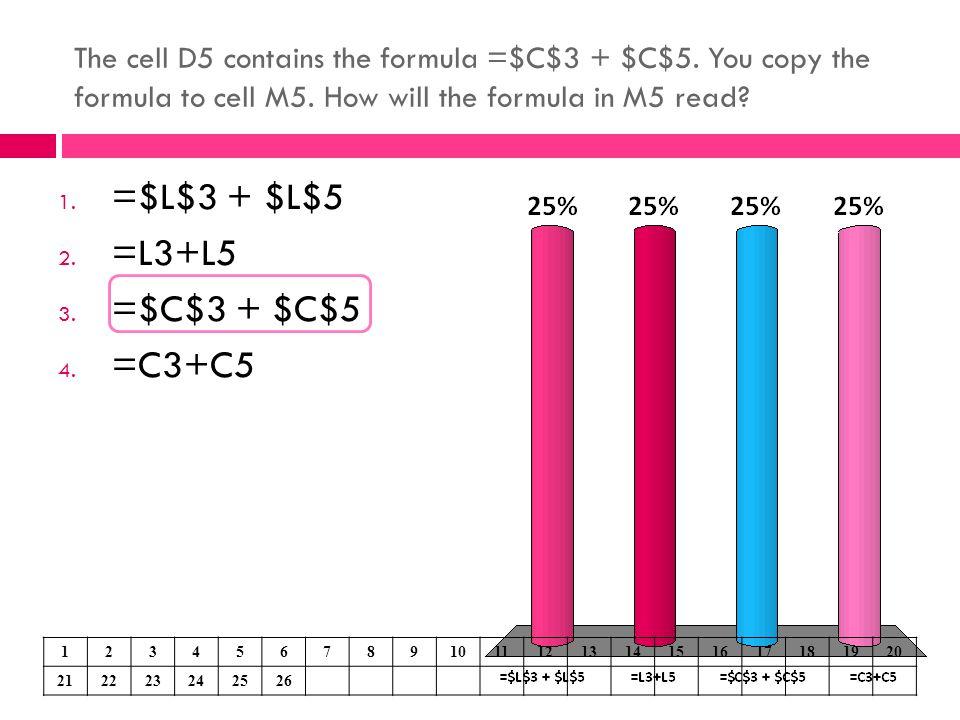 =$L$3 + $L$5 =L3+L5 =$C$3 + $C$5 =C3+C5