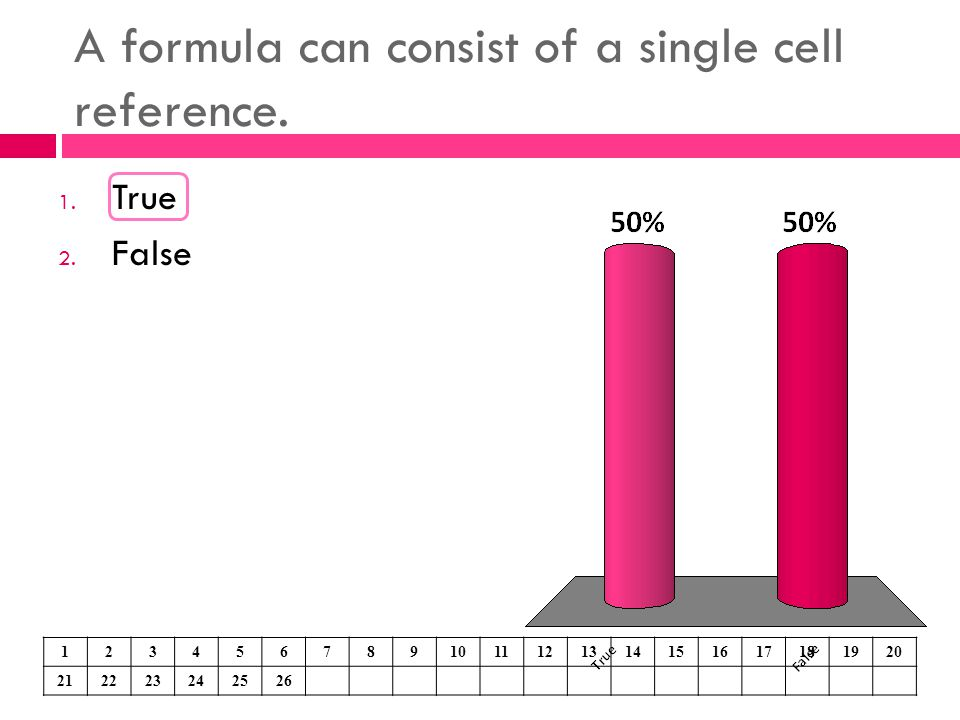A formula can consist of a single cell reference.