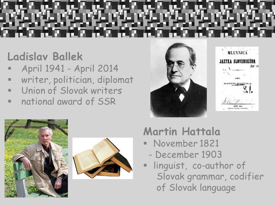 Ladislav Ballek Martin Hattala April 1941 - April 2014