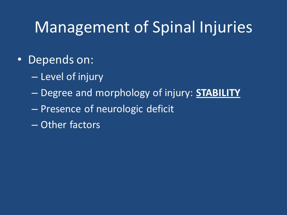 Management of Spinal Injuries