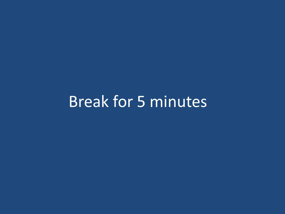 Break for 5 minutes