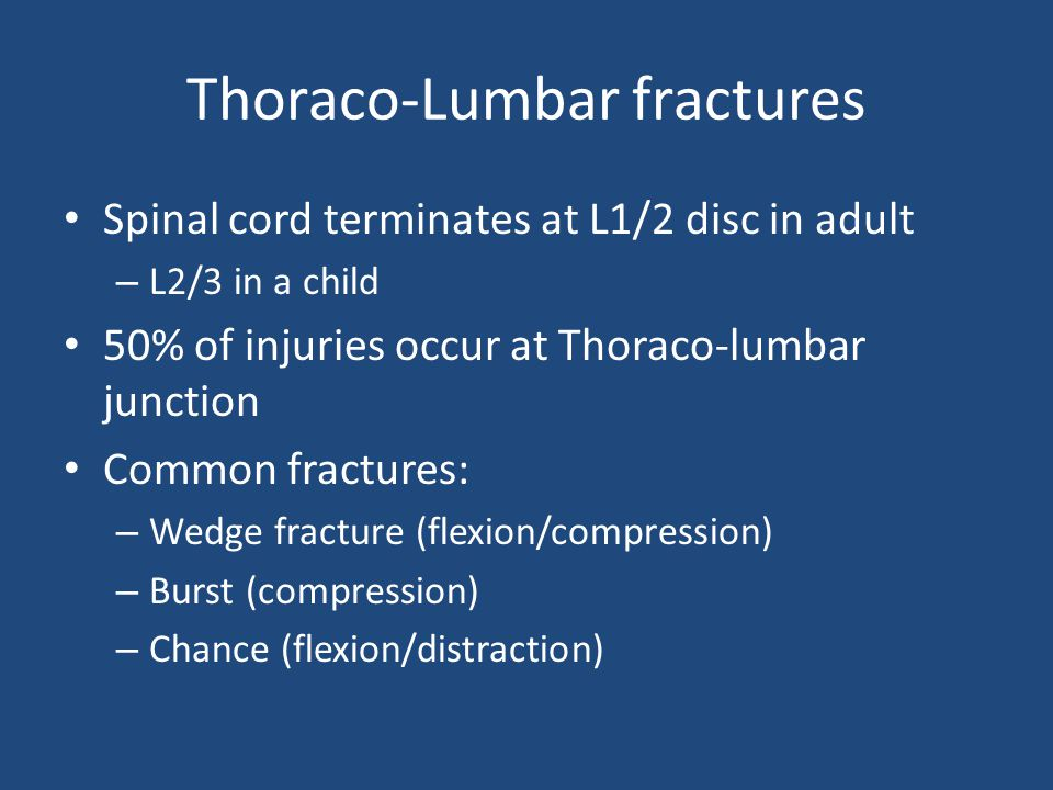 Thoraco-Lumbar fractures