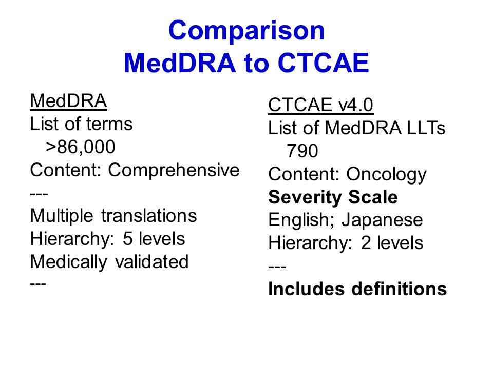Comparison MedDRA to CTCAE